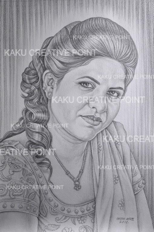 Pencil sketch oil portrait painting from photo we makes delhi image