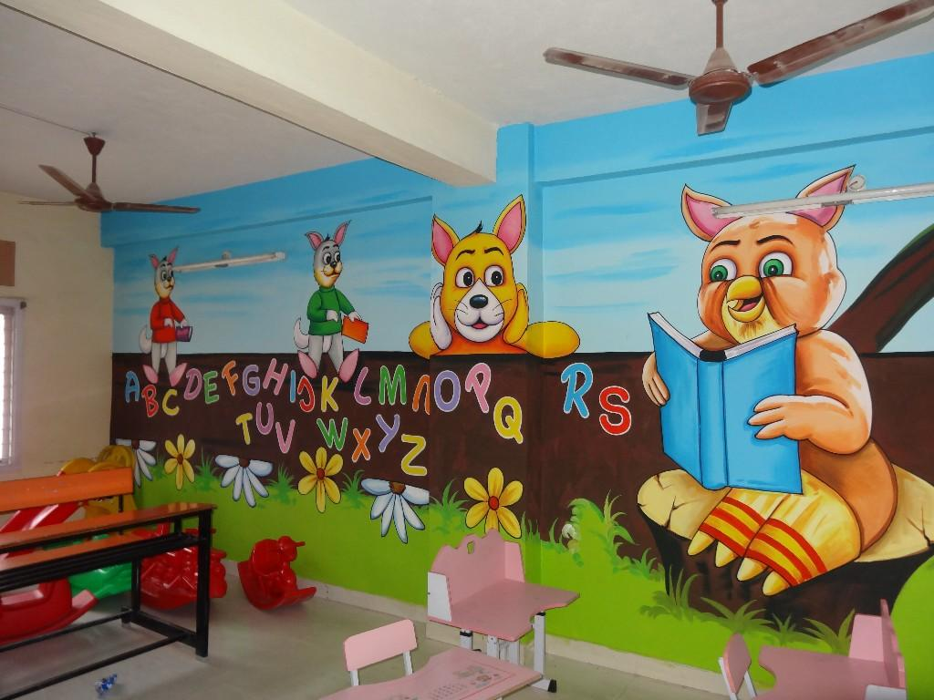 Paly school painting cartoons painting wall painting for Play school interiors pictures