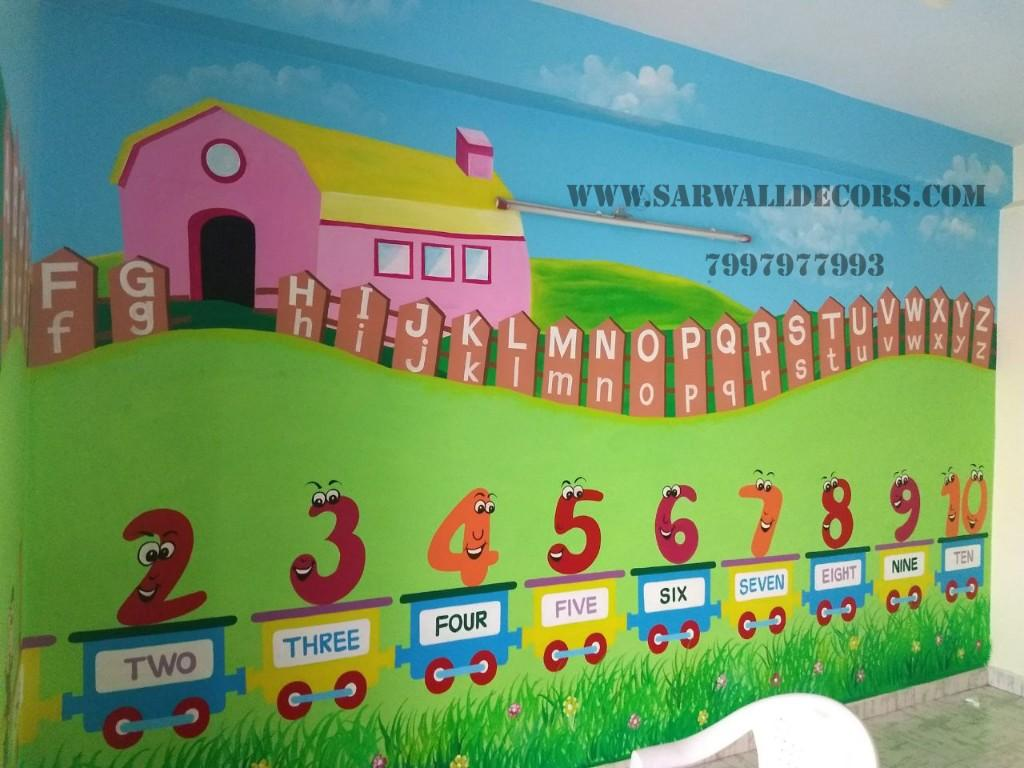 Nursery Classroom With Cartoon Wall Painting In Hyderabad