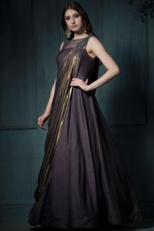 952b1c1eb77b Dark Purple Bamboo Silk Base Party Wear Gown Online - Image 1